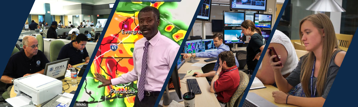Social science @ NSSL: Researchers in the HWT, emergency managers, person looking at cell phone, and broadcast meteorologist on the air