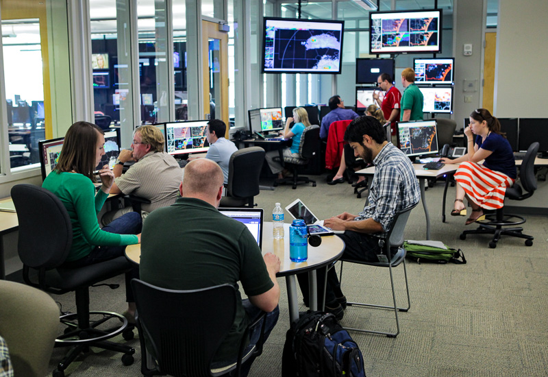 Researchers in the NOAA Hazardous Weather Testbed