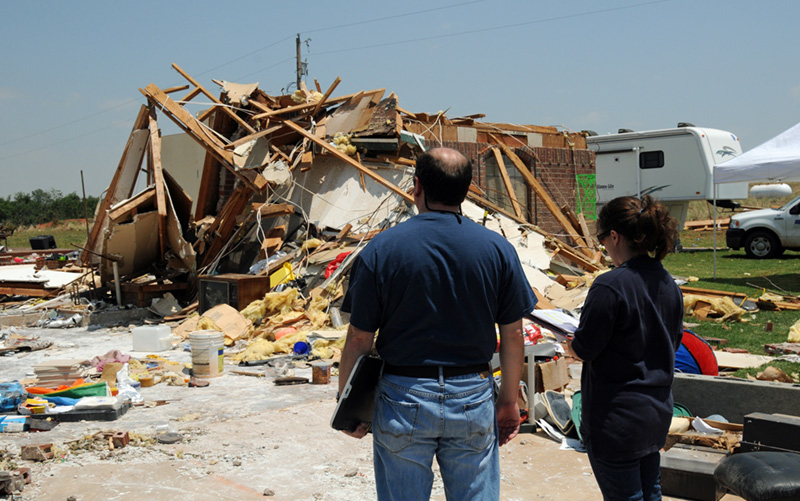 FEMA disaster workers survey tornado damage