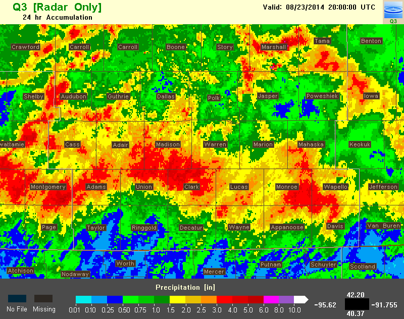 24 hour precipitation estimation in MRMS