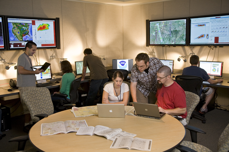 NSSL researchers at work in the Development Lab