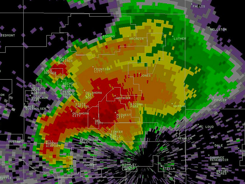 Tornadic hook echo on radar display